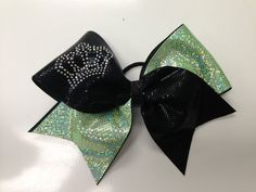 Cheer Bow- Lime/black with crown rhinestone decal