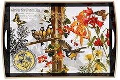 Large Decorative Wood Serving Tray Whandles 1975 X 135 25 Morning Meadow Black Vintage Birds Butterflies Primrose Decoupage Classic Home Accent *** More info could be found at the image url.