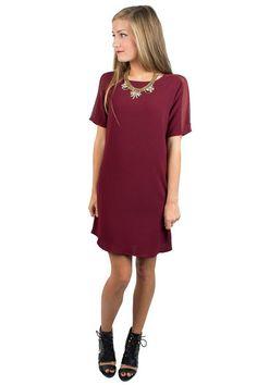 Burgandy Clean Slate Shift Dress