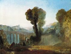 Joseph Mallord William Turner Claudian Composition, possibly Arcueil at Dawn (formerly titled 'Ariccia (? Thomas Gainsborough, William Hogarth, Dante Gabriel Rossetti, Joseph Mallord William Turner, John Everett Millais, Turner Painting, Joseph Williams, Watercolor Landscape Paintings, Watercolor Canvas