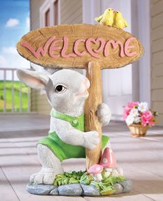 Spring Welcome Greeting Easter Bunny Statue