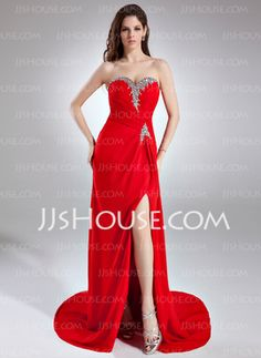 Sheath Sweetheart Court Train Chiffon Prom Dresses With Ruffle Beading Sequins (018015949) - JJsHouse