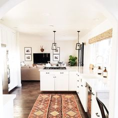 boho kitchen - love the white but it's still warm