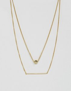 Pieces Hilli Gold Plated Multi Row Necklace