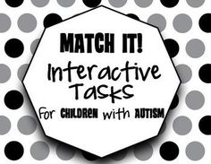 These basic matching tasks help build visual perception skills, fine motor abilities, letter & number identification/awareness, spelling, and sight word skills. These tasks also help generalize basic mastered skills such as colors, numbers, and money identification. by theautismhelper.com