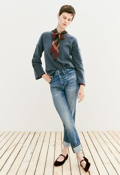 madewell high-rise slim boyjean worn with the button-sleeve sweater, plaid tie-neck shirt + coralie mary jane flat.