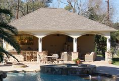 Freestanding Pool Cabana with Outdoor Kitchen, Bathroom, Shower & Laundry Room by Texas Custom Patios