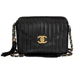 6581e74db143 1996 Chanel Black Vertical Quilted Lambskin Vintage Jumbo XL Fringe Camera  Bag