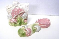 Pink Ceramic Mushrooms Vintage Napkin Holder by FunkAndMoreVintage
