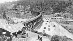 Central Pacific's Secret Town Trestle near Colfax in the Sierra Nevada was built by hundreds of Chinese workers in the 1860s.  (Southern Pacific Historical Collection) 12,000 Chinese migrants came to the U.S. to build the railways in the 1860s.