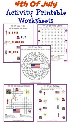I have 5 different 4th Of July activity printable worksheets available for you to print completely free of course. Kids love them and they are educational.