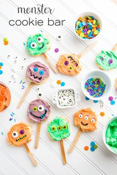 Gather your little ghouls together and throw a Monster Bash with this fun Make-Your-Own Monster Cookie Bar. It's a quick and clever way to encourage your kids to get creative in the kitchen. With a super-simple recipe for 3-ingredient Cookie Pops, this DIY treat is a sweet way to get spooky!