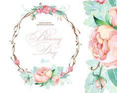 Bloomy Day. Watercolor Frame wreath wedding от OctopusArtis