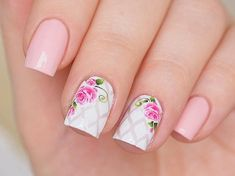 Hot pink rose nail water decals They are very easy in use and perfect for creating quick and easy summer nail designs. Suitable for both natural and false nails. Package: one sheet Decals: in different sizes Pattern: hot pink roses Floral Nail Art, Nail Art Diy, Easy Nail Art, Cool Nail Art, Diy Nails, Manicure Ideas, Light Pink Nail Designs, Simple Nail Art Designs, Best Nail Art Designs