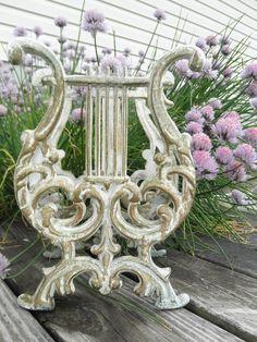 Magazine Rack - Vintage 70s - Wrought Iron Harp - Cottage - French - Shabby Chic - Victorian Decor. $32.00, via Etsy.