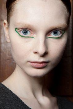 Artistic green liner at Ter et Bantine Fall 2014  - Runway Beauty at Paris Fashion Week #PFW