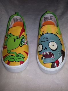 Plants vs Zombies Inspired Hand Painted Shoes (could also do angry birds) I know they sell canvas slip on shoes at Walmart (probably payless or target too). You could do the painting with fabric paint and outline with a sharpie. He is a kids (not toddlers) size 2