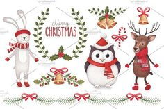Cute Christmas illustrations by Alexandra on @creativemarket