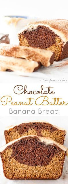 A moist and delicious Chocolate Peanut Butter Banana Bread. Quick, easy, and can be made in one bowl! | livforcake.com