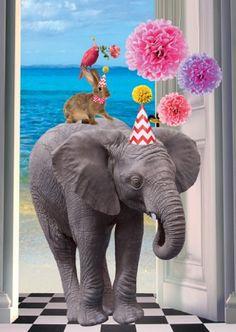 Ansichtkaart Party Elephant de Kunstboer. www.stijlicoontjes.nl