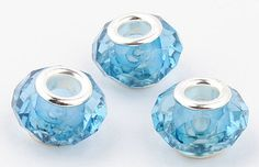 5 European Beads Faceted Pale Blue by SugarPieDesignsByKK on Etsy, $3.50