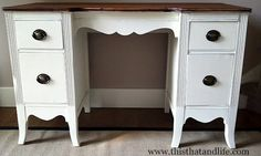 Annie Slaon Chalk Paint in Old-White/Clear Wax on the desk  Minwax Ipswich Pine/Watco Satin Wipe-on Polyon the desktop