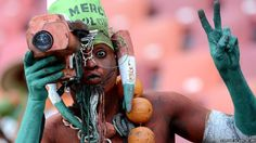 A Niger supporter goes all out before his country's football match at the Africa Cup of Nations. The team went on to lose 3-0 to Ghana.