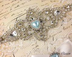 Liga de encaje marfil Set algo azul Liga de novia por GarterQueen