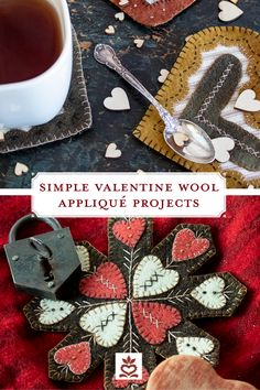 Felted Wool Crafts, Felt Crafts, Valentine Ideas, Be My Valentine, Felt Embroidery, Penny Rugs, Wool Applique, Digital Pattern, Holiday Crafts