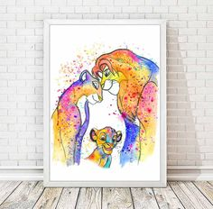 Simba and Nala Watercolor Print The Lion King by DROPINDROP
