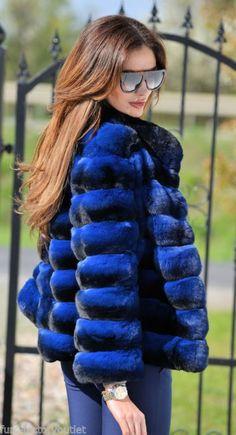 NEW 2016 LaFURIA REAL ROYAL CHINCHILLA FUR JACKET CLASS SABLE MINK FOX COAT BLUE