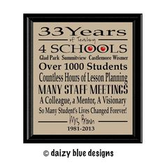 Teacher Retirement Gift Retired Teacher Gift by DaizyBlueDesigns
