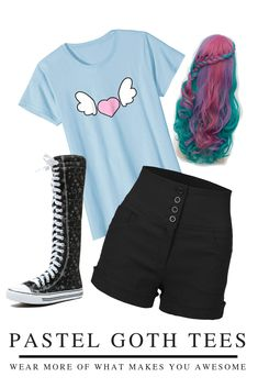 """KAWAII HEART WINGS"" - Pastel goth is more than fashion, it's a culture! Get in the pastel goth scene with this scary but cute witchy goth tshirt! CREEPY CUTE PASTEL GOTH GIRL - Wear this edgy aesthetic kawaii tshirt with your favorite goth ensemble - pastel goth accessories like bat hair clips and a cute pair of pastel goth boots! Perfect for your next lookbook OOTD! Girls Wear, Goth Girls, Creepy Cute, Scary, Goth Boots, Goth Accessories, Pastel Goth Fashion, Kawaii Goth, Heart With Wings"