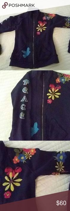 """JW Los Angeles embroidered jacket. Black with colorful embroidery! Full zip mock neck.  Fowers and bird embroidered """"Peace"""" embroidered on sleeve and peace sign embroidered on back!  Super cute!!! Size xs. 100% cotton. JW Los Angeles  Jackets & Coats"""