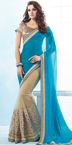 Shiny Blue And Cream Net Saree With Blouse.