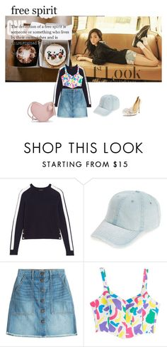 """""""Untitled #1760"""" by angelworlds21 ❤ liked on Polyvore featuring J.Crew, Fantasia, Current/Elliott, Moschino and Kate Spade"""