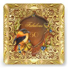 Elegant Floral Bird Coffee Gold 50th Birthday by zizzago.com