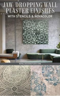 Jaw-Dropping Wall Plaster Finishes with Stencils & NovaColor – Royal Design Studio Stencils Large Wall Stencil, Stencil Painting On Walls, Damask Stencil, Decoupage Furniture, Painted Furniture, Furniture Design, Venetian Plaster Walls, Wall Finishes, Painted Floors