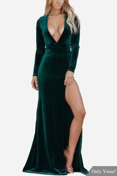 dead200120 Dark Green Velvet Deep V Front Split Hem Design Maxi Dress - US 35.99 -YOINS