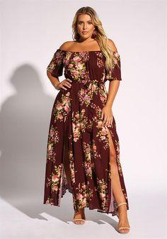 1a17f97937b Plus Size Floral Off Shoulder Slit Maxi Dress Plus Size Bodycon Dresses