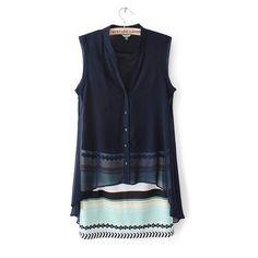 elegant color striped V-neck Two-piece Dresses vintage casual