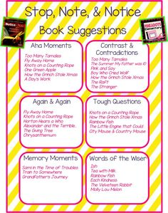 Stop, Note, & Notice list of book recommendations for the signposts.: