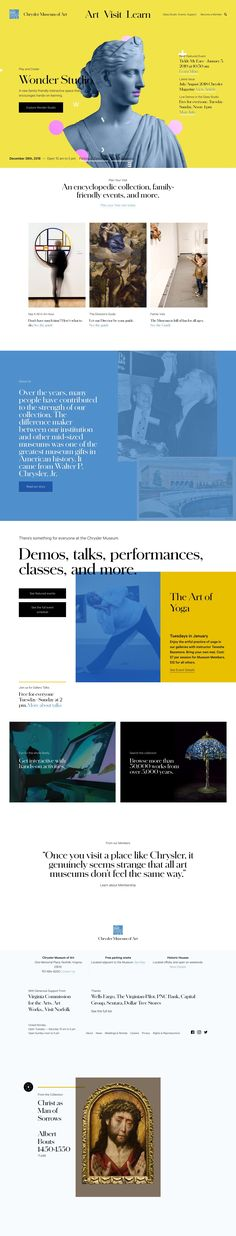 Web design for a Museum. Very classy, timeless, vintage look meeting modern colors and typography. A simple layout, functional and trending. Website Design Inspiration, Website Design Layout, Layout Design, Web Design, Chrysler Museum, Yoga Art, Modern Colors, Visual Identity, All Art