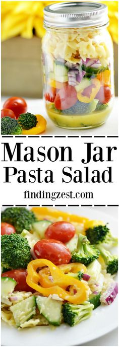 Serve up this easy to transport Mason Jar Pasta Salad for your next picnic or barbecue! It features a homemade tangy dressing, lots of veggies and pasta.