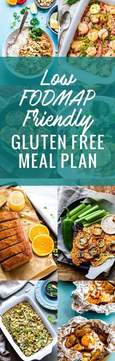 This Low FODMAP friendly Gluten Free Meal Plan is a great tool to help you resolve those pesky digestive issues. Learn what FODMAPS are, what foods they come from, and how limiting them could possibly (temporarily) relieve common digestive disorders and Gluten Free Meal Plan, Free Meal Plans, Gluten Free Recipes, Gluten Free Food List, Fodmap Recipes, Diet Recipes, Healthy Recipes, Fodmap Foods, Low Fodmap Food List