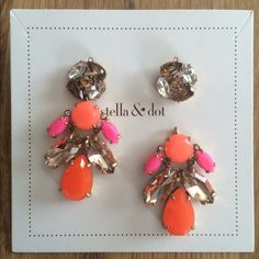 Stella & Dot Pop Geo Chandeliers These versatile chandelier earrings can also be worn with the studs alone.  2'' drop length, med weight. These are new and never worn. Stella & Dot Jewelry Earrings