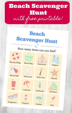 Beach Scavenger Hunt for Kids (FREE printable!) - great for kids, tweens and families to do on a visit to the ocean or lake! Summer Scavenger Hunts, Scavenger Hunt List, Outdoor Scavenger Hunts, Photo Scavenger Hunt, Scavenger Hunt For Kids, Ocean Activities, Printable Activities For Kids, Indoor Activities For Kids, Free Printables