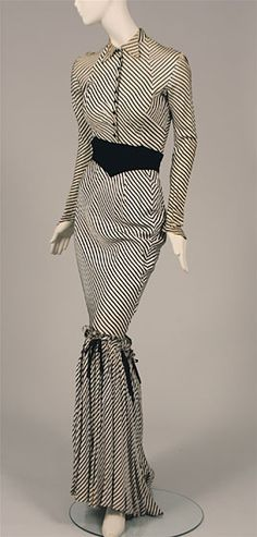 Mitered stripe synthetic crepe strip costume worn by Gypsy Rose Lee, 1940s