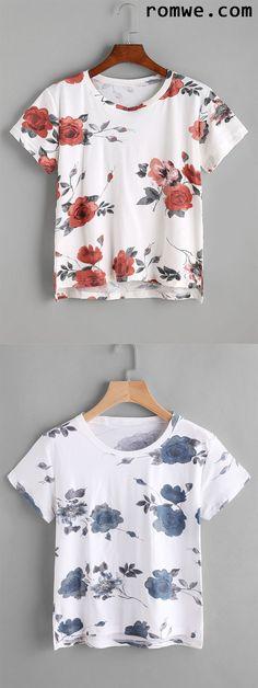 Floral Print High Low T-shirt