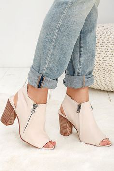 Sbicca Sancia Beige Leather Peep-Toe Booties I Summer shoes I soft leather I open toe booties I ankle boots